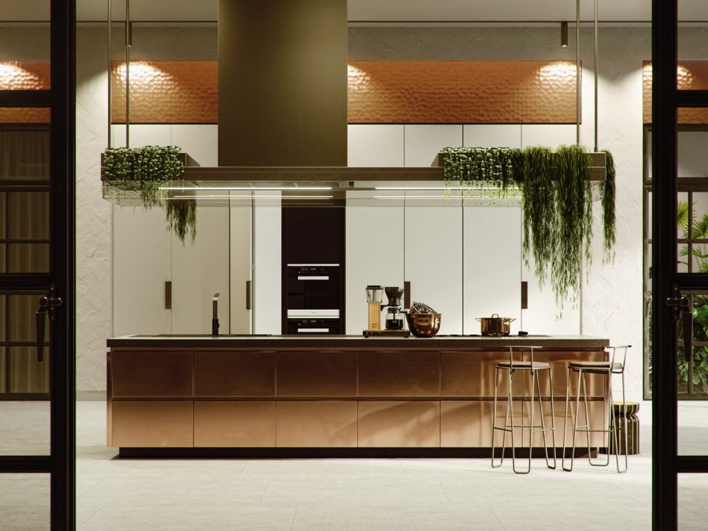 nuansa hijau di tempat memasak