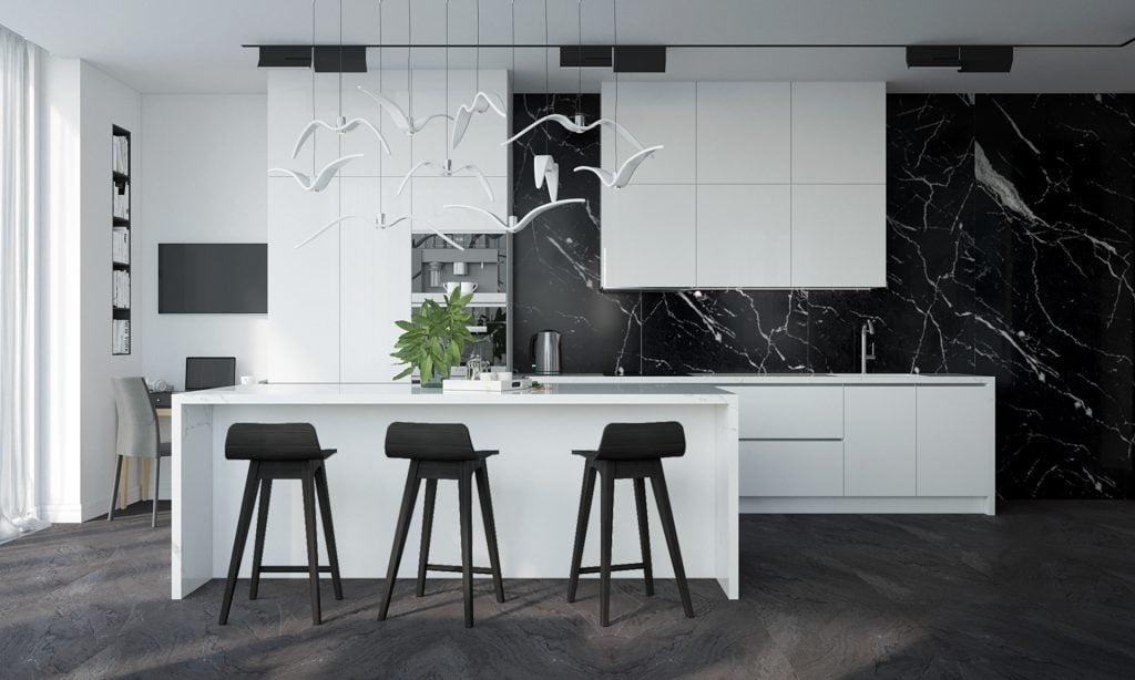 dapur bernuansa hitam putih