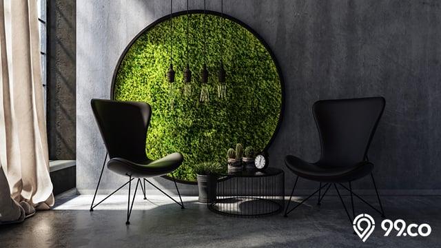 dekorasi tanaman lumut di rumah