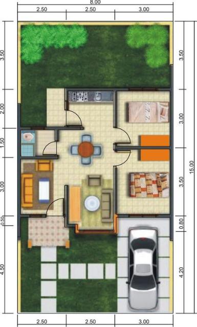 denah rumah 1 lantai 3 kamar ukuran 8x12