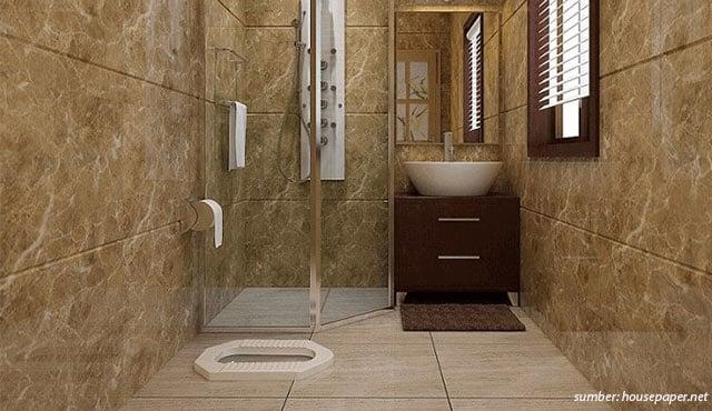 Hasil gambar untuk Kamar Mandi Kloset Jongkok dengan Shower & Wastafel