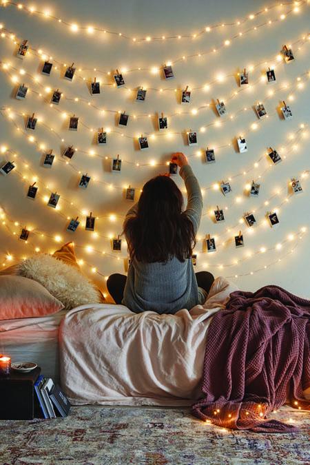 desain kamar tidur lampu tumblr