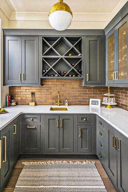 desain kitchen set abu abu
