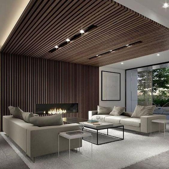 desain plafon minimalis kayu