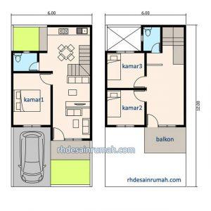 7 desain rumah minimalis 2 lantai 6x12 paling fungsional