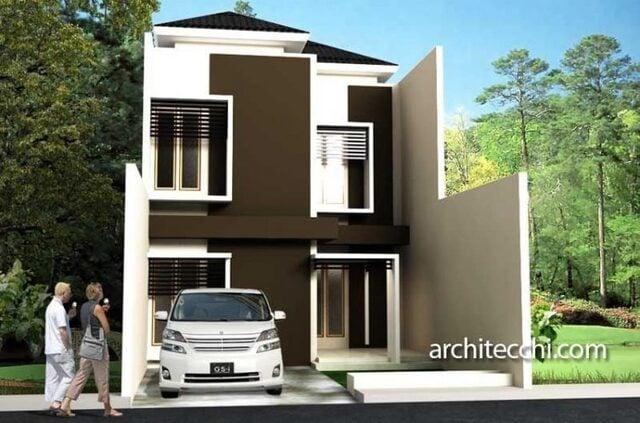 desain rumah minimalis 2 lantai sederhana cokelat tanpa pagar
