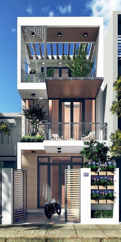 desain rumah minimalis 3 lantai cokelat