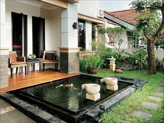 desain teras rumah dan kolam