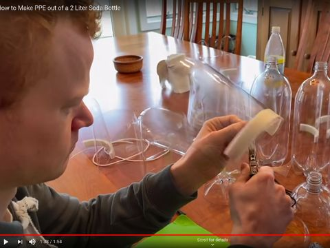 membuat face shield dari botol plastik