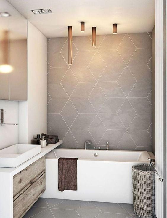 gambar kamar mandi kontemporer beraksen abu-abu
