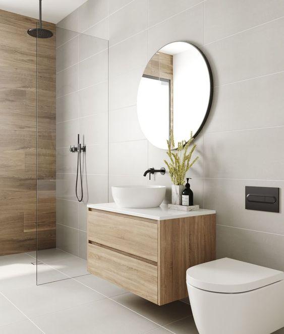 gambar kamar mandi modern warna mocca dinding kayu