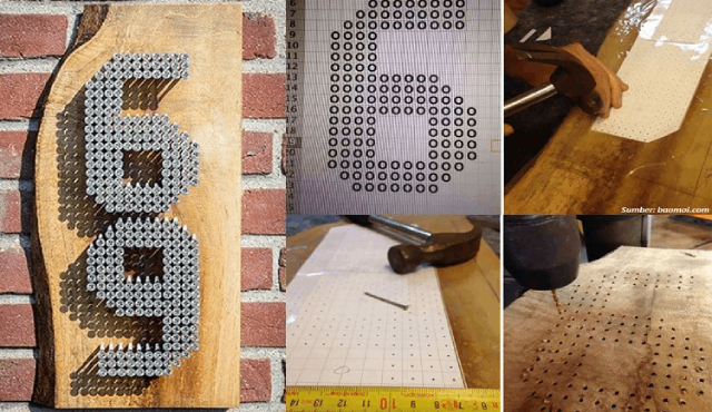 DIY Membuat Nomor Rumah Unik dari Paku. Praktis dan Sederhana!