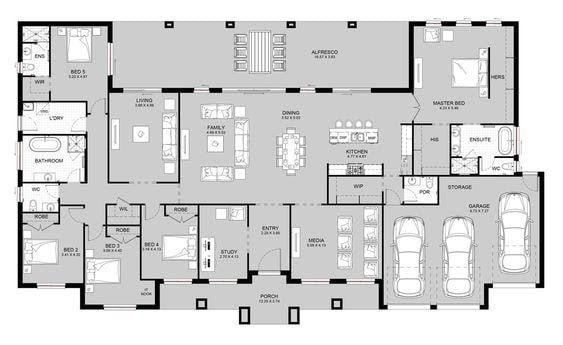 denah rumah 5 kamar tidur 1 lantai