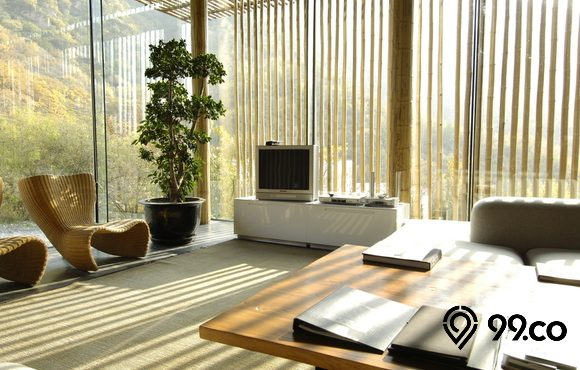 ruang keluarga konsep bambu