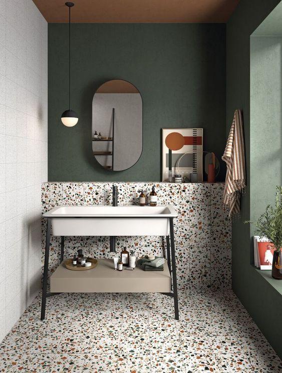 kamar mandi artistik warna hijau