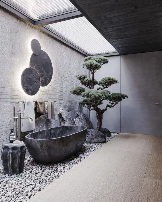 kamar mandi batu alam luar ruangan berwarna abu-abu hitam