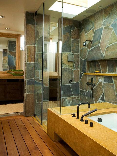 8 Inspirasi Desain Kamar Mandi Batu Alam Bernuansa Rustic Dan Modern