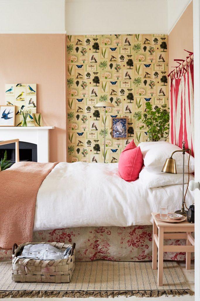 kamar tidur shabby chic dengan warna salem