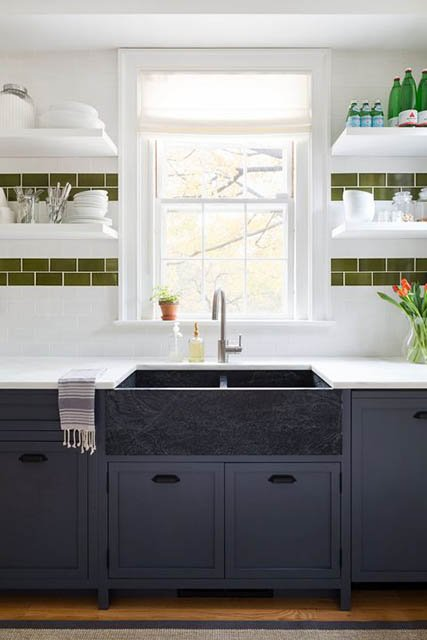 keramik dinding dapur hijau