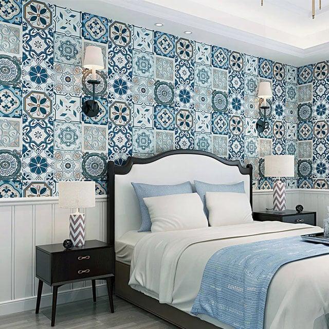 keramik dinding kamar tidur etnik
