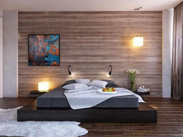 keramik dinding kamar tidur kayu