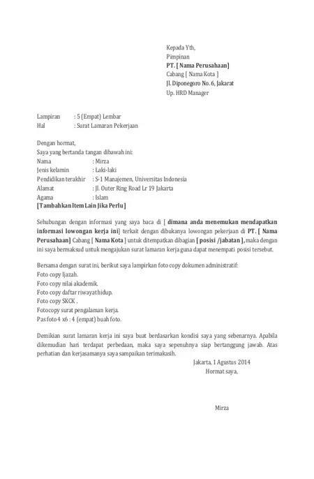 Cara Membuat Surat Lamaran Kerja Yang Efektif Dijamin Lolos Seleksi
