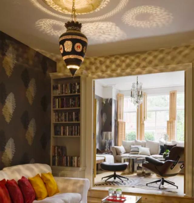 lampu hias ruang tamu coklat