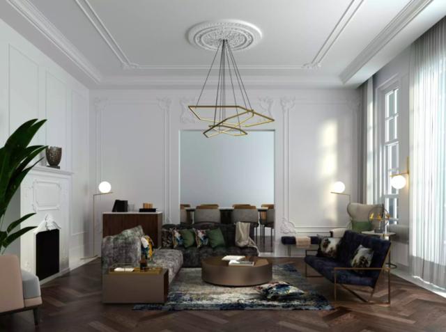 lampu hias ruang tamu putih modern