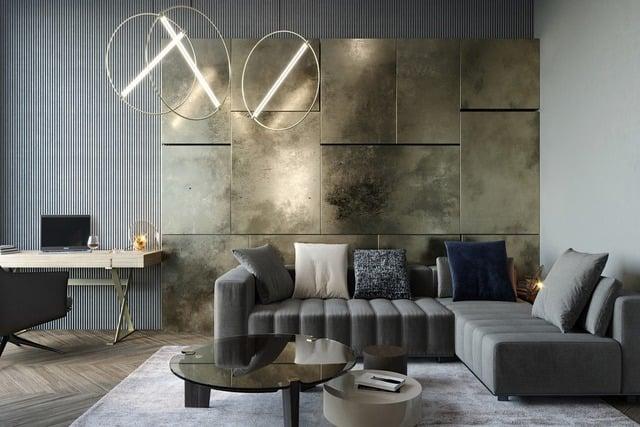 ruang keluarga tema metalik