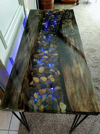 meja resin epoksi batu