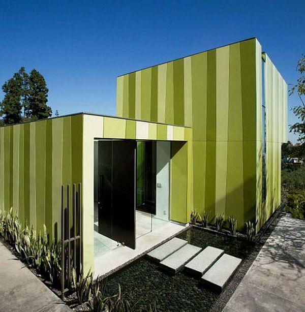 model rumah minimalis hijau garis-garis