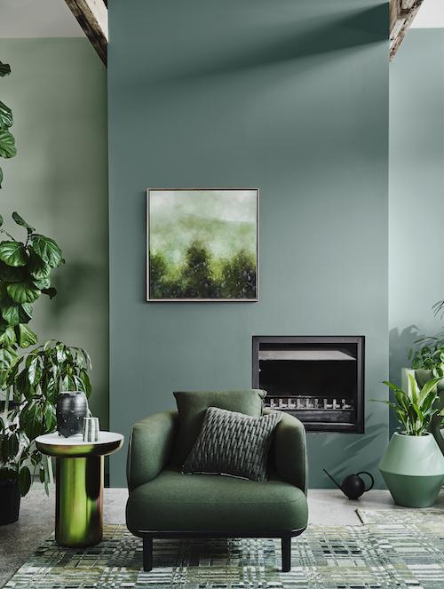 warna monokrom hijau daun