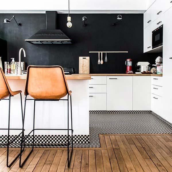 motif keramik lantai dapur campur kayu