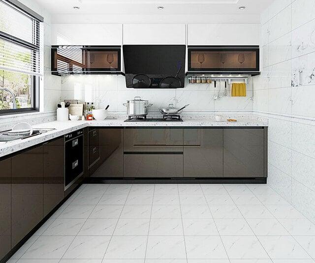 motif keramik lantai dapur putih marmer minimalis