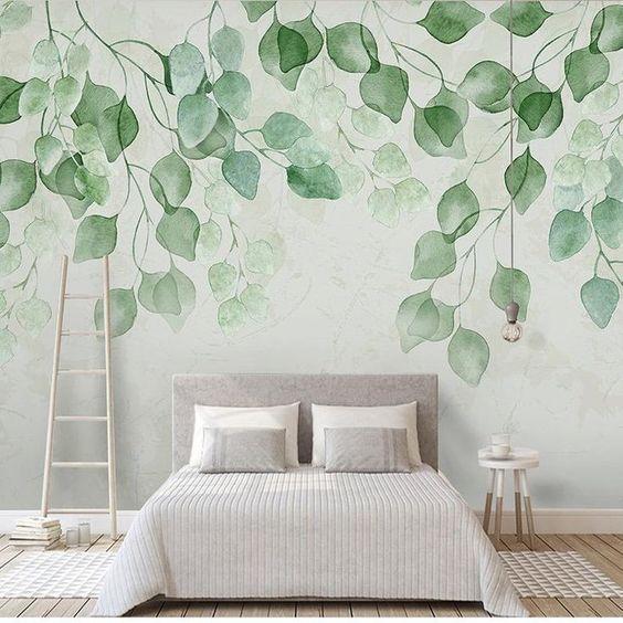 mural dinding rumah tema daun