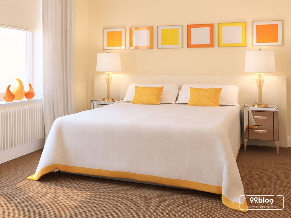 warna cat kamar tidur oranye