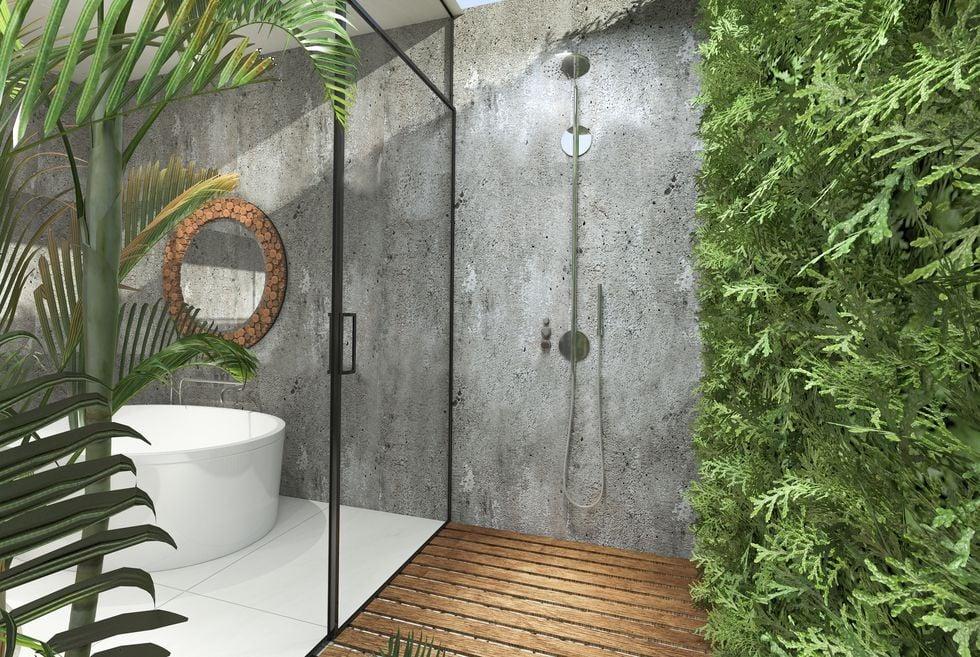 desain ruang shower outdoor