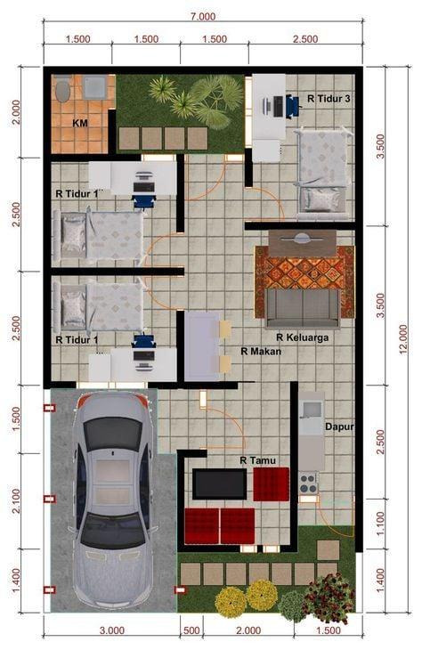rumah ukuran 7x12 3 kamar tidur