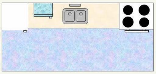 single line layout kitchen set