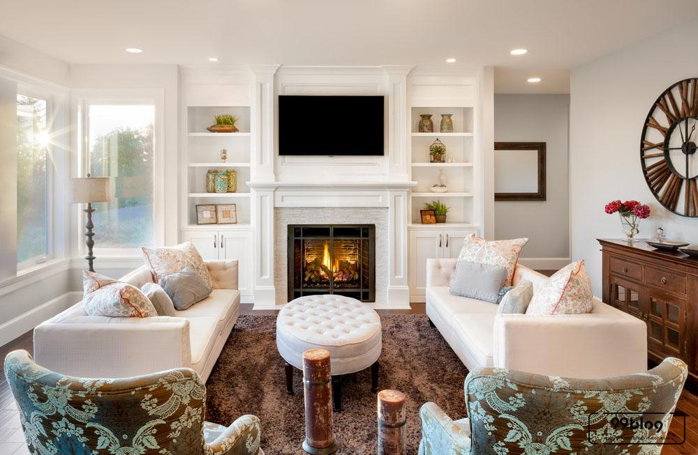 ruang keluarga bercat putih