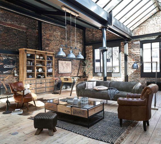 ruang tamu industrial