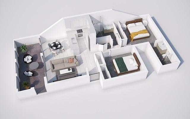 Denah Rumah Minimalis 2 Kamar Yang Nyaman Hemat Tempat