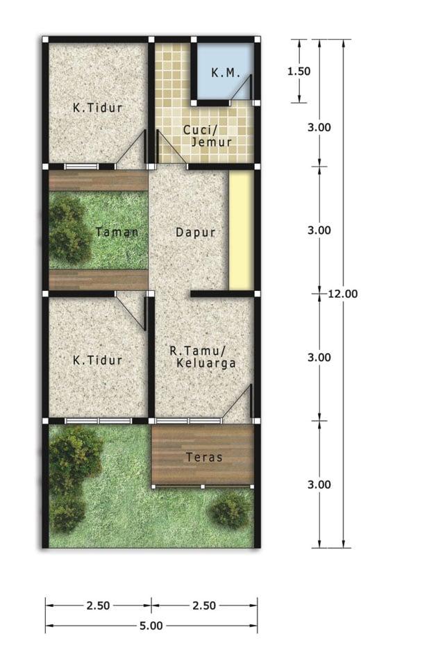 9 Inspirasi Denah Ukuran Rumah Minimalis Type 45 Tertarik Menirunya