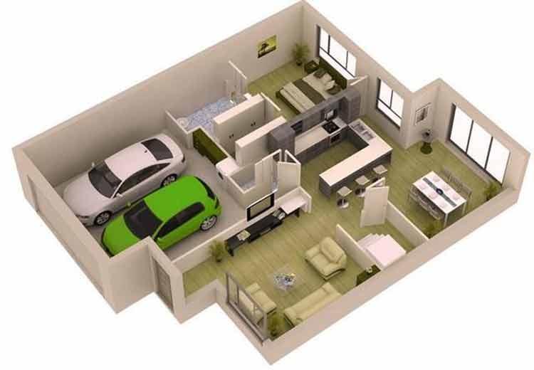rumah minimalis garasi luas