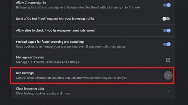 Pengaturan Chrome
