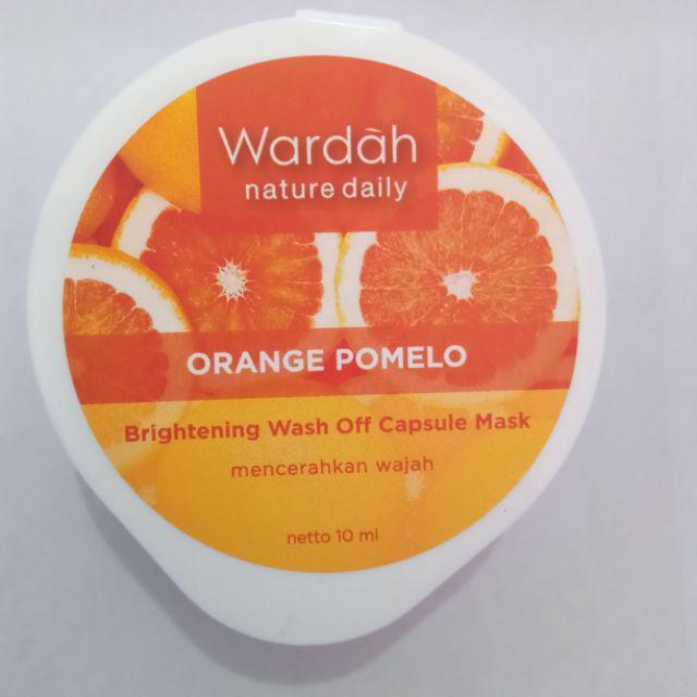 Wardah Nature Daily Orange Pomelo Brightening Wash Off Capsule Mask