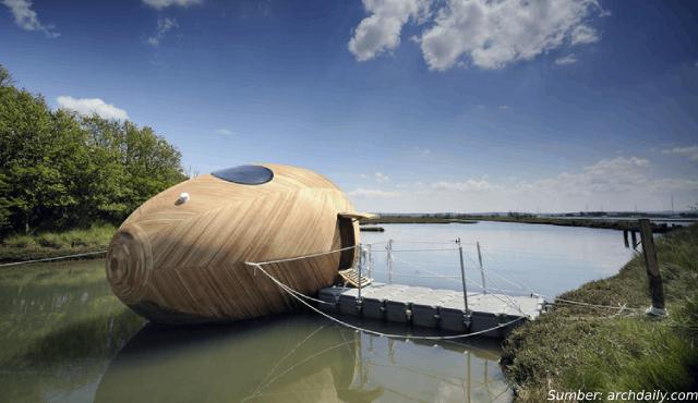 Lihat Indahnya Rumah Unik Berbentuk Telur Ini, Bisa Mengambang di Air!