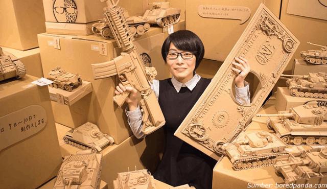 Kreatif! Wanita Jepang Ini Buat Kerajinan dari Kardus Jadi Kreasi Ajaib