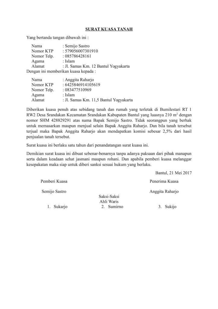 surat kuasa dari orang tua ke anak