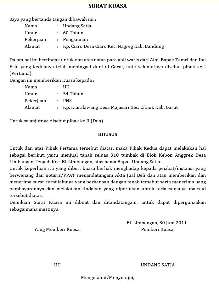 surat kuasa pengambilan sertifikat tanah
